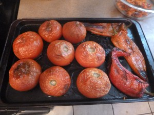 Roasted tomatoes and Marconi peppers