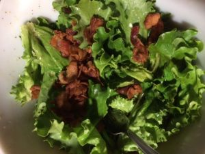 Lettuce with bacon dressing