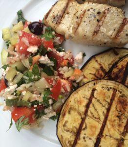 Grilled Eggplant & Rice Salad